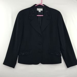 Liz Claiborne Black Beaded Evening Jacket Blazer